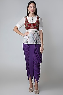 Purple Dhoti Pants With Embroidered Peplum Top by Sonam Luthria