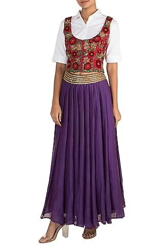 Purple Pinafore Shirt With Skirt by Sonam Luthria