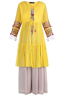 Yellow Embellished Jacket With Bustier & Pants by Sonam Luthria