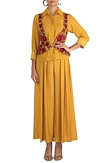 Mustard Yellow Shirt With Waistcoat & Pants by Sonam Luthria