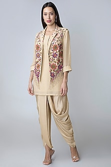 Cream Dhoti Kurta Set With Embroidered Waistcoat by Sonam Luthria