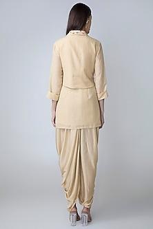 Cream Dhoti Kurta Set With Embroidered Waistcoat by Sonam Luthria