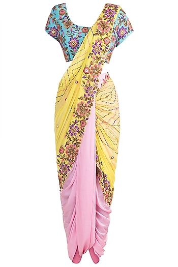 Multi Colored Dhoti Saree Set by Sonam Luthria