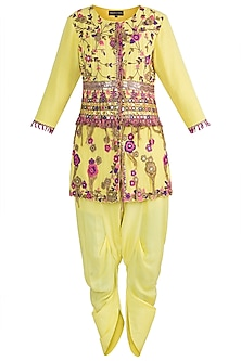 Yellow Embroidered Jacket With Dhoti Pants by Sonam Luthria