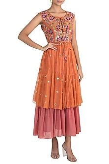 Orange Tiered Jacket With Midi Dress by Sonam Luthria