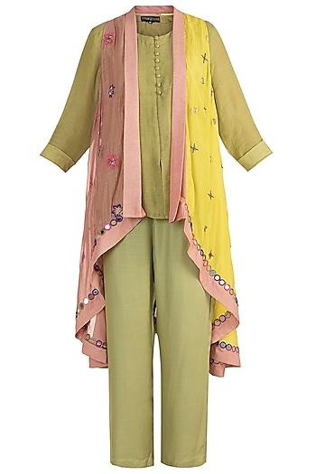 Olive Green Short Kurta With Pants & Jacket by Sonam Luthria