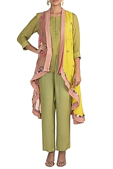 Olive Green Short Kurta With Pants & Jacket by Sonam Luthria
