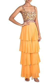 Orange Crop Top With Tiered Pants by Sonam Luthria