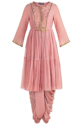 Blush Pink Embroidered Jacket With Dhoti Pants by Sonam Luthria