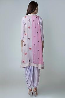 Light Purple Dhoti Kurta Set With Jacket by Sonam Luthria
