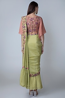 Olive Green Embroidered Pre-Stitched Saree Set by Sonam Luthria