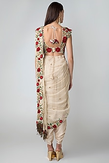 Beige Blouse With Dhoti Pants, Dupatta & Belt by Sonam Luthria