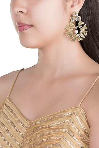 Matte Gold Finish Uncut Carved Stone Dangler Earrings by Shillpa Purii
