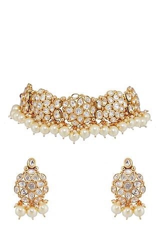 Gold Finish Choker Necklace Set by Shillpa Purii