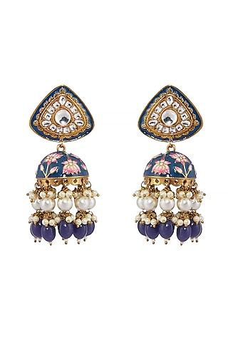 Dull Gold Finish Meenakari Earrings by Shillpa Purii