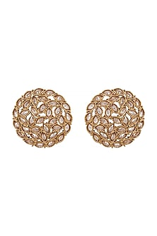 Gold Finish Floral Stud Earrings by Shillpa Purii