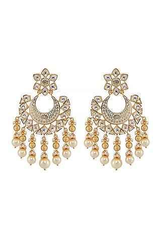 Gold Finish Meenakari Chandbali Earrings by Shillpa Purii