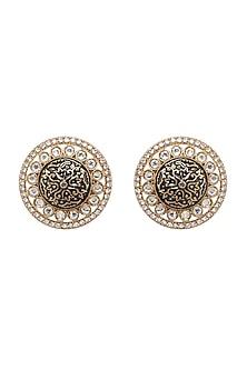 Gold Finish Meenakari Earrings by Shillpa Purii