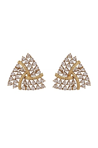 Gold Finish Triangle Stud Earrings by Shillpa Purii