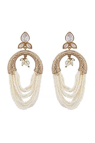 Gold Finish Meenakari Pearl Earrings by Shillpa Purii