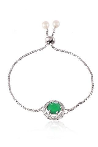 Silver Finish Diamond Zodiac Bracelet Rakhi by Silvermerc Designs