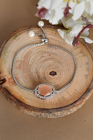 Silver Finish Zodiac Bracelet With American Diamonds Rakhi by Silvermerc Designs