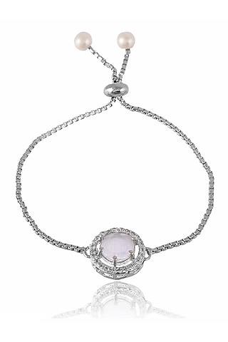 Silver Finish Zodiac American Diamond Bracelet Rakhi by Silvermerc Designs