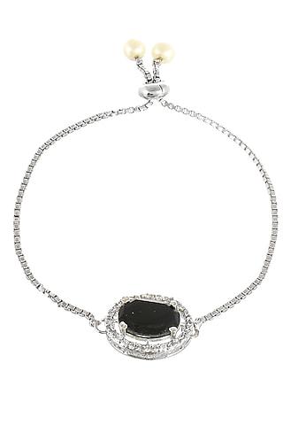 Silver Finish Diamond Bracelet Rakhi by Silvermerc Designs