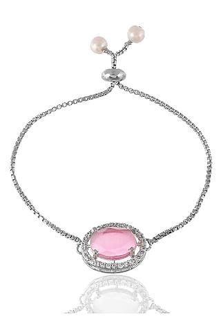 Silver Finish Bracelet Rakhi With American Diamond by Silvermerc Designs