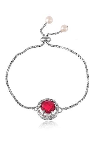 Silver Finish Bracelet Rakhi With Diamond by Silvermerc Designs