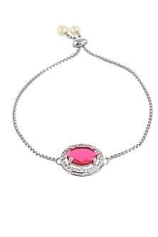 Silver Finish Diamond Bracelet Rakhi With Zodiac by Silvermerc Designs-SILVER RAKHIS