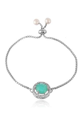 Silver Finish American Diamond Bracelet Rakhi With Zodiac by Silvermerc Designs