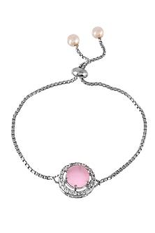 Silver Finish Adjustable Zodiac Bracelet Rakhi With American Diamonds by Silvermerc Designs-SEND RAKHIS TO USA