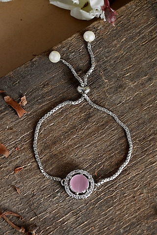 Silver Finish Adjustable Zodiac Bracelet Rakhi With American Diamonds by Silvermerc Designs