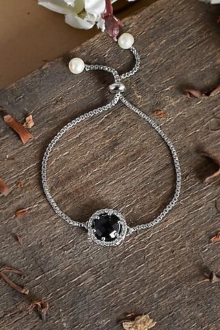 Silver Finish Adjustable Zodiac Diamond Bracelet Rakhi by Silvermerc Designs