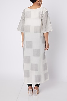 White & Black Checkered Kurta by Silk Waves
