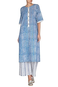 Indigo Hand Block Printed Kurta by Silkwaves