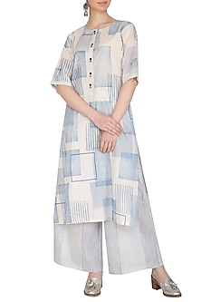 Indigo Hand Block Printed Cotton Kurta by Silkwaves