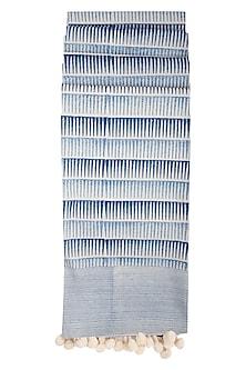 Indigo Block Printed Dupatta by Silkwaves