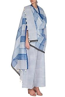 Indigo Hand Block Printed Cotton Dupatta by Silkwaves