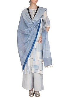 Indigo Printed Cotton Dupatta by Silkwaves