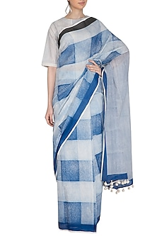 Indigo Block Printed Saree by Silkwaves