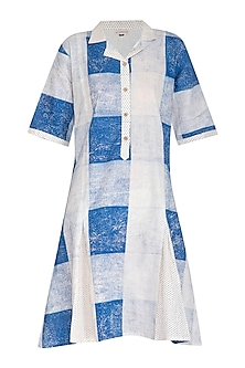 Indigo Hand Block Printed Lily Dress by Silkwaves