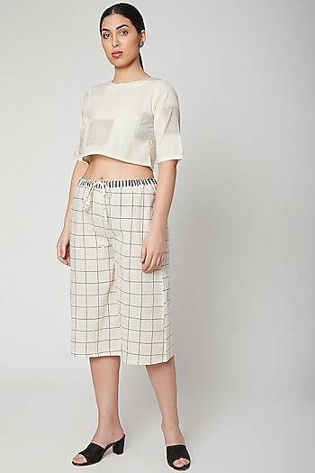 White & Black Block Printed Crop Top by Silk Waves