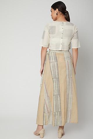White & Black Block Printed Wrap Skirt by Silk Waves