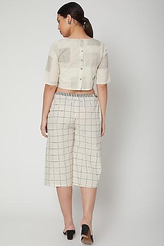 White & Black Block Printed Culotte Pants by Silk Waves