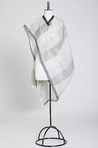 Black & White Dupatta by Silk Waves