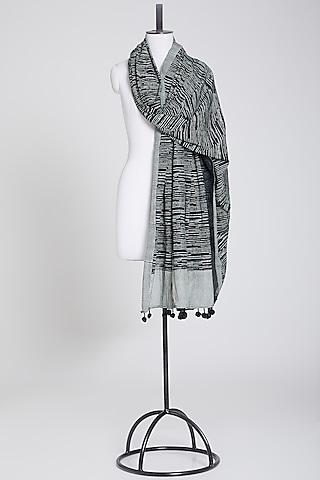 White & Black Dupatta In Cotton by Silk Waves