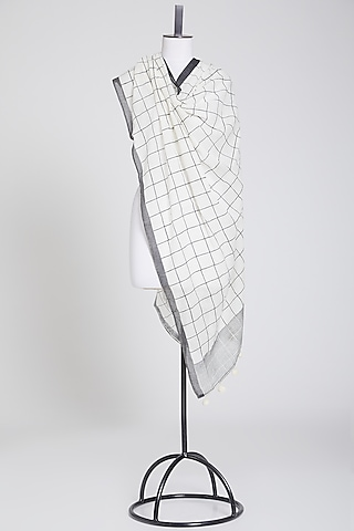 White & Black Cotton Dupatta by Silk Waves