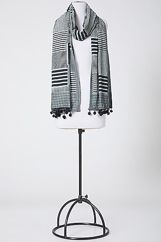White & Black Printed Dupatta In Cotton by Silk Waves